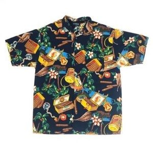 Vintage Koman Cigar Tobacco Print Hawaiian Shirt